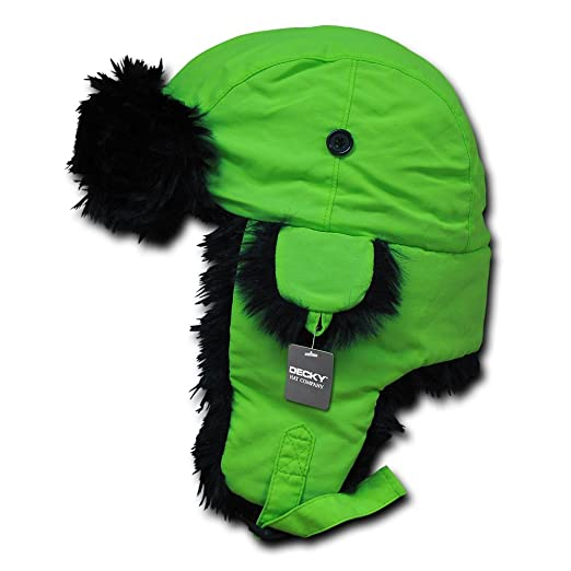 ee814c47a06df Decky Brands Bright Neon Black Fur Aviator High Visibility Winter Trooper  Hat - Neon Green -