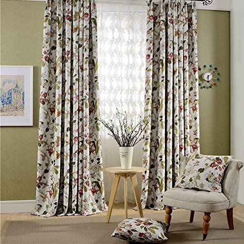 Leyden Grommet Top Cottage Coloful Garden Print Curtains Curtain Drapes – 100Wx84 L Multi Size Customizable One Panel