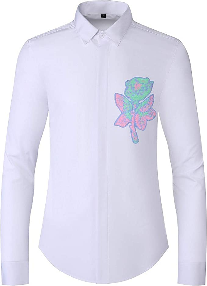 Camisa Hombre Parche Floral Cardigan Manga Larga Slim fit ...