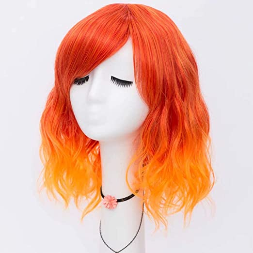 Amazon.com : NiceLisa Women Girls 16 Inches Loose Wave Medium Length Fire Red Orange Cosplay Costume Wigs Side Bangs : Beauty