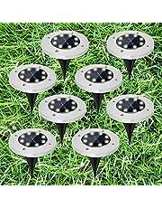 مصابيح ارضية 8 LED مقاومة للماء لاضاءة ممشى في الحديقة، بتصميم حجري واضاءة طبيعية تعمل بالطاقة الشمسية من جانيد، عبوة من 8 قطع، بيضاء