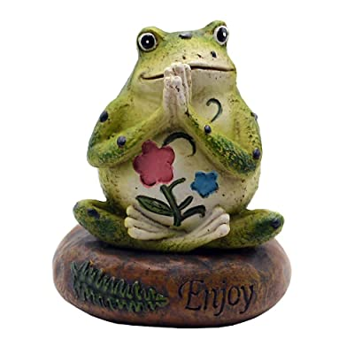 HoDrme Novelty Yoga Frog Figurine-Frog Sitting On Enjoy Stone Sculptures Office Outdoor Decor Garden Statue: Home & Kitchen