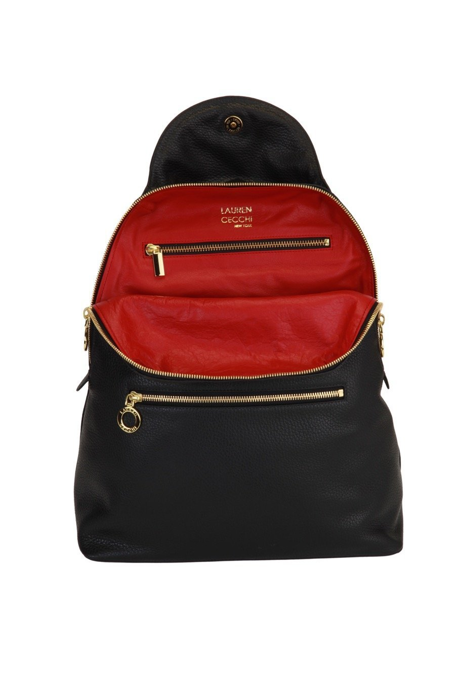 Genuine Italian Leather Bella Backpack - Lauren Cecchi New York - Lipstick Red Interior - Stylish Designer Bag With Adjustable Shoulder Straps by Lauren Cecchi New York (Image #2)