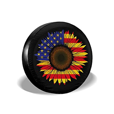 Spare Tire Cover Jeep Personalized Sunflower American Flag Trailer Truck RV SUV Covers Travel Universal 14 Inch: Automotive