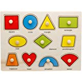 OneCreation Wooden Puzzle Cognitive Board Hand Grasping Board (Shape Matching) 1-6 Years Old Puzzle Toy