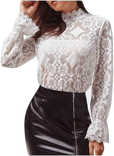 SMILEQ Blusa de Encaje de Color Puro para Mujer Tops de Manga Larga Casuales Camisa Suelta: Amazon.es: Ropa y accesorios