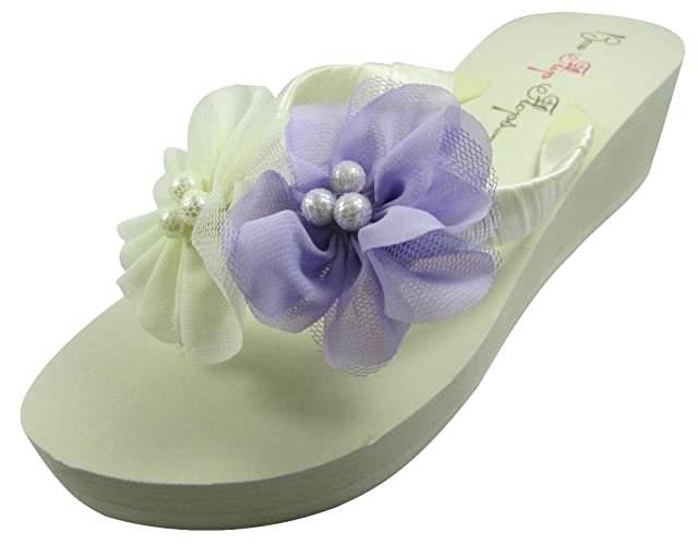 3800e0b9c593 Amazon.com  Ivory Wedge Flip Flops Wedding Bridal White Wedge Bride  Platform Heel Pearl Flower Satin Shoes Sandals Beach  Handmade