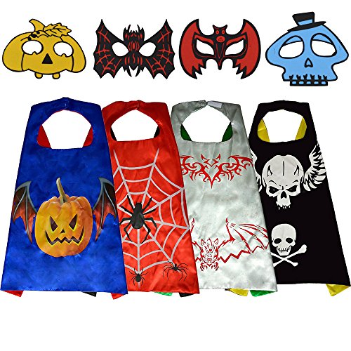 Halloween Costumes( 4 Capes, 4 Masks, 7 Bracelets ), Party Supplies (Toddler Crow Costume)