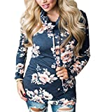 Litetao Fashion Womens Floral Sweatshirt Pullover Outerwear Tops Turtleneck Blouse (S, Navy)
