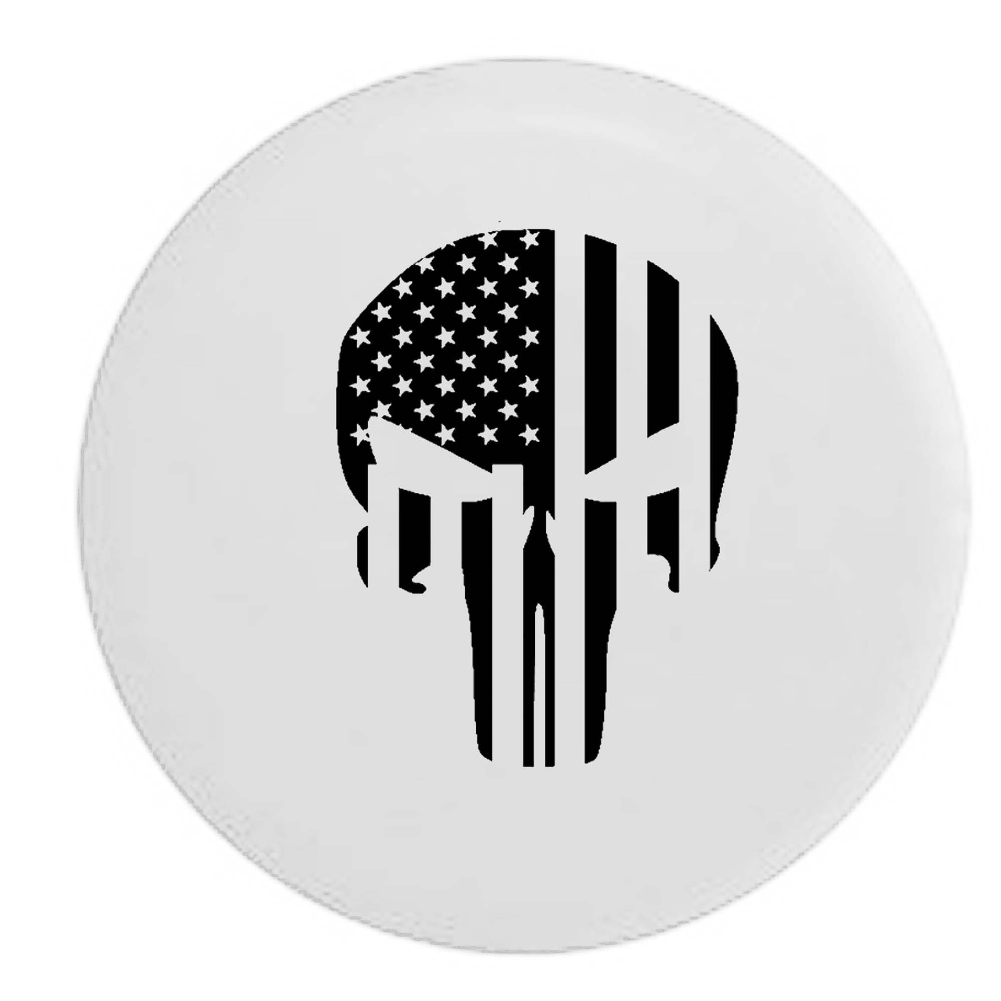 Pike Outdoors American Flag Vertical Tactical Military Patriot Skull RV Spare Tire Cover OEM Vinyl White 30 in by Pike Outdoors