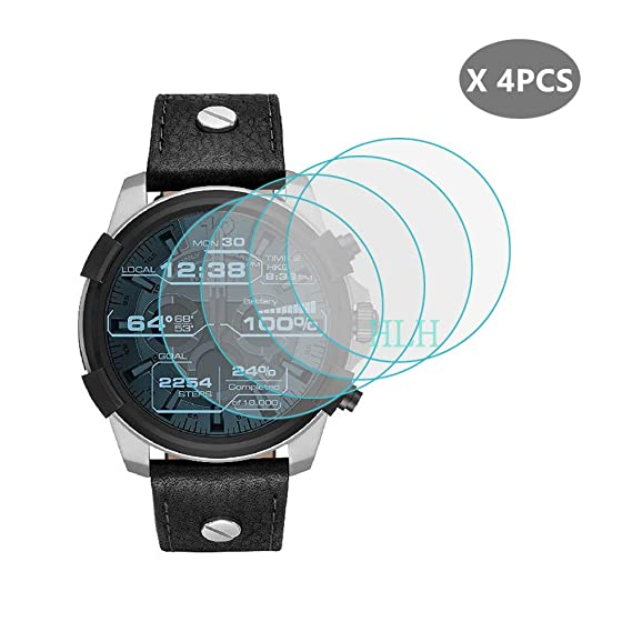 (4 PCS) HLH for Diesel on Full Guard Smartwatch Tempered Glass Screen Protector , 9H Hardness Anti-Scratch Bubble Free