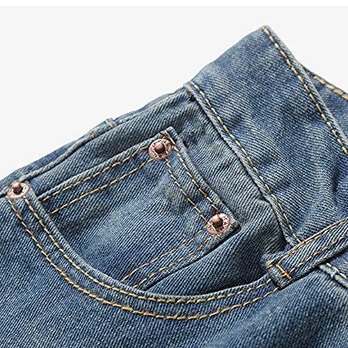 Hip hop Del Jiameng Blu Jeans Di Tagliuzzati Lavata Della Lavoro Uomo Uomo Dimensioni Da Casuale Dell'annata Dei Denim Pantaloni Cotone Grandi qrq6zgOc