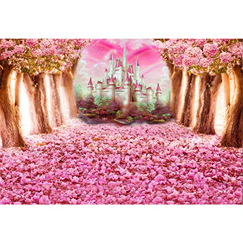 Laeacco Pink Flowers Tree and Petals Castle Background 7x5ft Photography Backdrop Cherry Blossoms Flower Petals Falling on Ground Pink Background Fantasy Wonderland Sweet Girls Baby Children Wedding