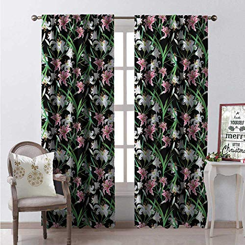 - Hengshu Calla Lily Room Darkening Wide Curtains Exotic Nature Graceful Spring Time Garden Lily and Iris Blossoms Foliage Decor Curtains by W84 x L108 Multicolor