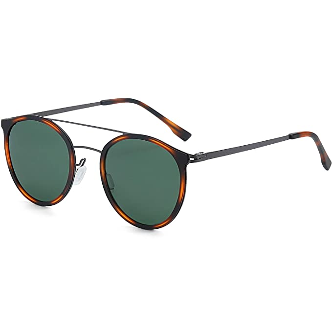 Easy 1940s Men's Fashion Guide ZENOTTIC Small Round Polarized Sunglasses for Women Men Vintage Double Bridge Frame $19.99 AT vintagedancer.com