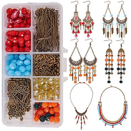 SUNNYCLUE 1 Box DIY Jewelry Making Kit Boho Bohemian Beaded Fringe Tassel Earring Necklace Making Supplies DIY Beading Kits for Beginners Adults