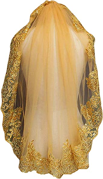 FJMM White//Ivory 38 Lace Edge Short Bridal Veil With Comb
