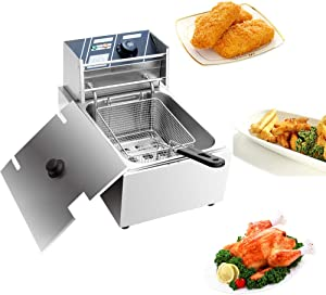YYAO Deep Fryer 2500 W 6.3QT/6L Stainless Steel Electric Fryer with Baskets and Filters,Electric Fryer for Turkey,Steak,French Fries,Donuts