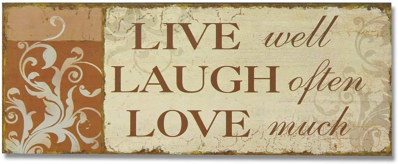 POWERMAZ Decorative Wood Wall Hanging Sign Plaque with Sayings Live Well Laugh Often Love Much Home Decor Craft Art 10 x 5 Inches(BW619)