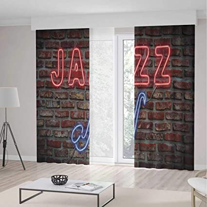 Music Room Decor Curtains,Image Of Alluring Neon All Jazz Sign With  Saxophone Instrument On