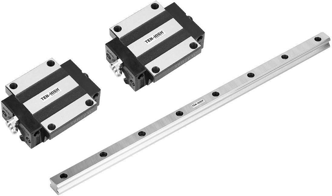 TEN-HIGH CNC kits HSR20-500mm 19.69pulgadas Carril de guía lineal/Linear Guideway Rail+ 2 x HSR20CA Bloque de cojinete de carro de tipo cuadrado