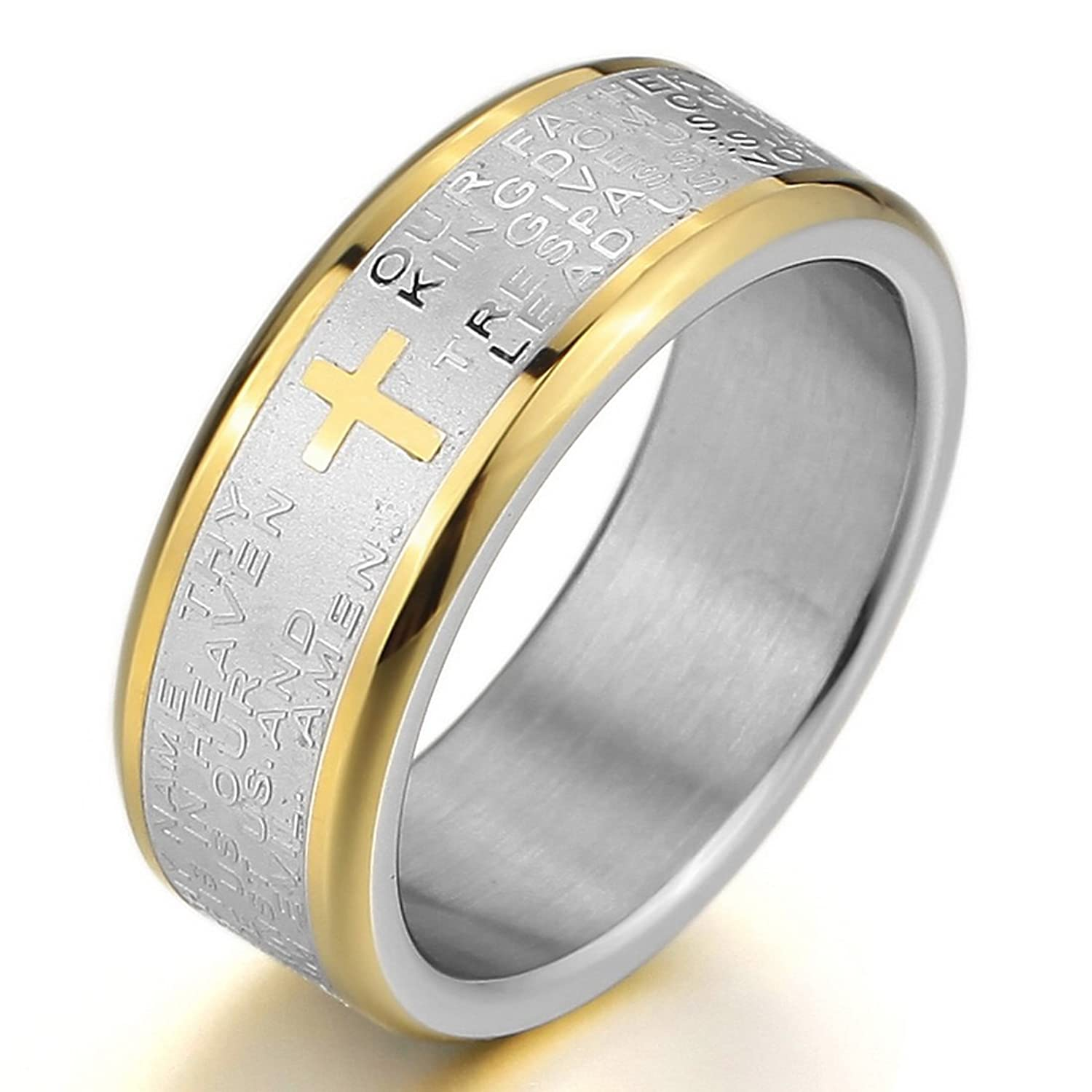 amazoncom inblue mens stainless steel ring band silver gold tone bible lords prayer cross wedding jewelry - Cross Wedding Rings