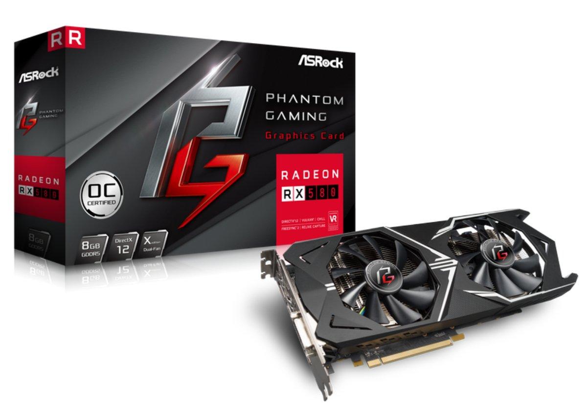 ASRock Phantom Gaming X Radeon DirectX 12 RX580 8G OC 8GB 256-Bit GDDR5 PCIE 3.0 x16 Video Card