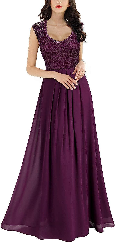 Miusol Women's Casual Deep- V Neck Sleeveless Vintage Wedding Maxi Dress