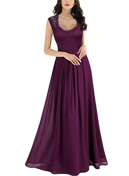 Women's Casual Deep- V Neck Sleeveless Vintage Wedding Maxi Dress