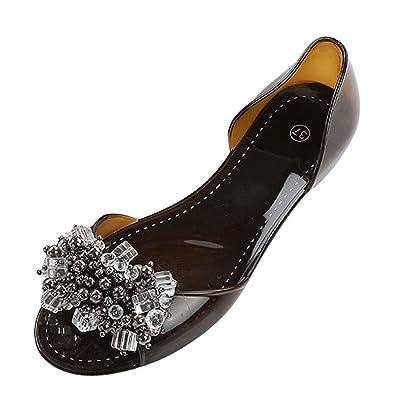 969e181fe9e4 Dear Time Rhinestones Jelly Flat Sandals Peep Toe Women Summer Slides Black  US 4.5