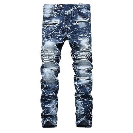 Geili Herren Jeans Hose Lang Vintage Used Look Destroyed Hohl Löchern Jeanshosen Denim Pants Basic Regular Fit Straight Jeans