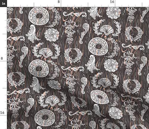 Abstract Carving Fabric - Finely Carved Wood Grain Woodshop Ornament Furniture Woodwork Applique Fine 18Th Century Print on Fabric by the Yard - Modern Jersey - for Fashion Apparel Clothing with 4-Way
