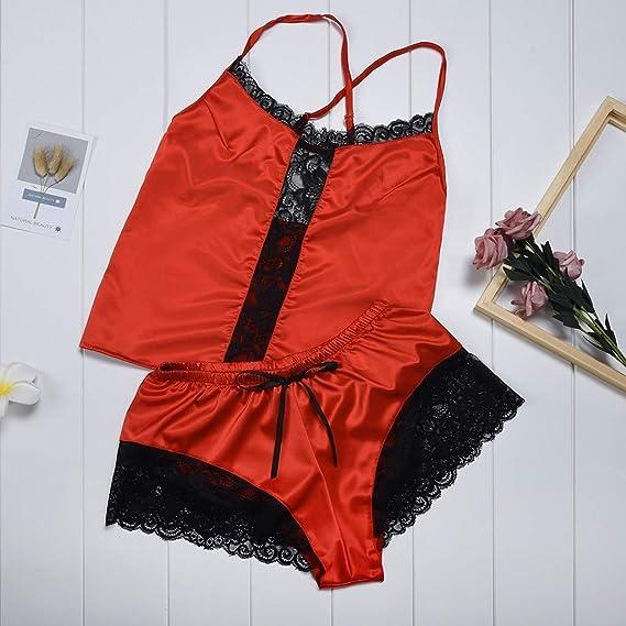 Luckycat Lencería Sexy Mujer, Lencería de Encaje para Mujer camisón lencería erótica camisón Pijama Vestido de Encaje Negro Dormir Teddy Ropa Interior una ...