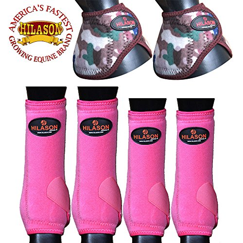 MEDIUM HILASON HORSE FRONT HIND 4 PACK LEG SPORT BELL BOOTS SET PINK CAMOUFLAGE by HILASON
