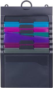 Smead Cascading Wall Organizer Gen 2, 6 Pockets, Letter Size, Gray/Jewel Pockets (92063)