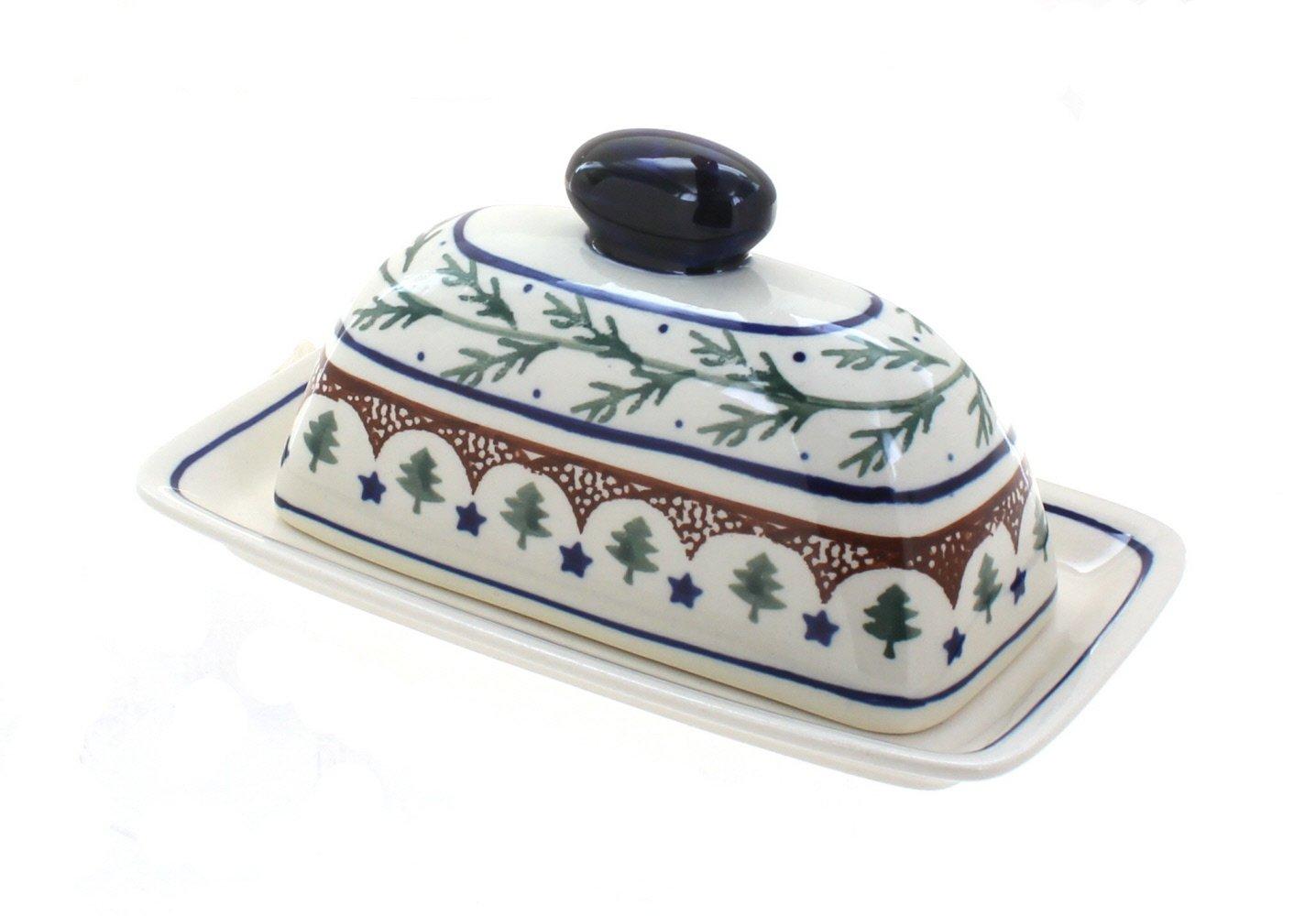 Polish Pottery Evergreen Butter Dish