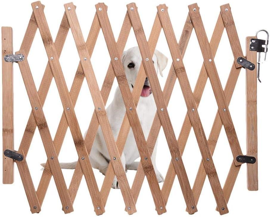 Bestlle Barrera de seguridad plegable para mascotas, puerta corredera retráctil de madera para perros pequeños y medianos