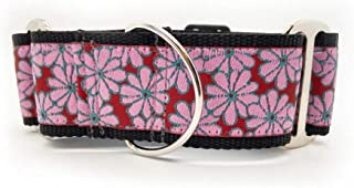 """product image for Diva-Dog 'Strawberry Fields' Medium & Large Dog 2"""" Extra Wide Chainless Martingale Dog Collar ~ MD, LG, XL"""