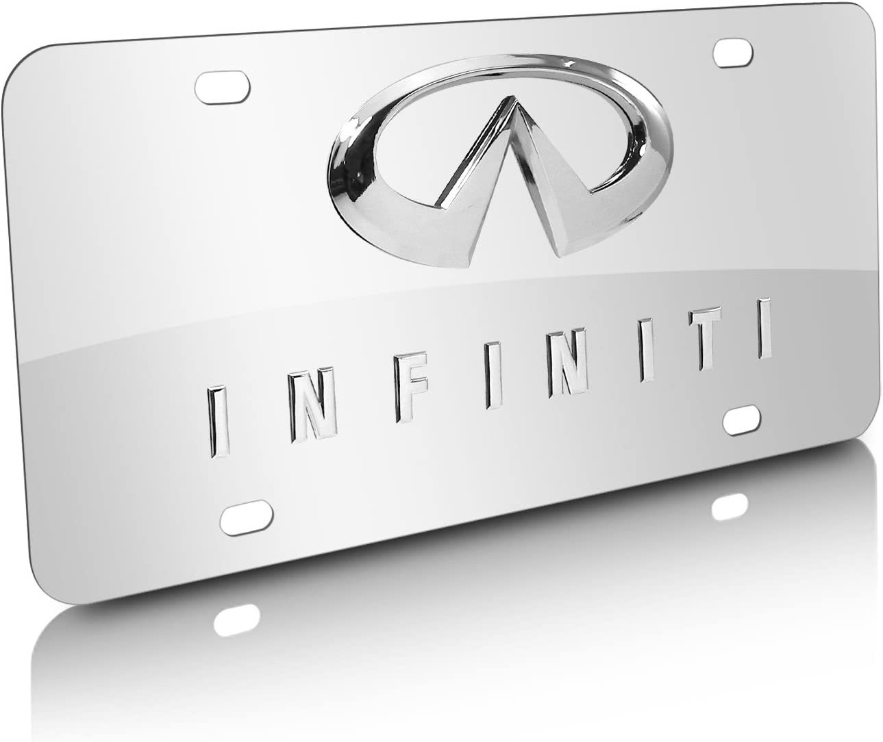2 x PRESTIGE WHITE STAINLESS STEEL NUMBER PLATE SURROUND HOLDER FOR MERCEDES