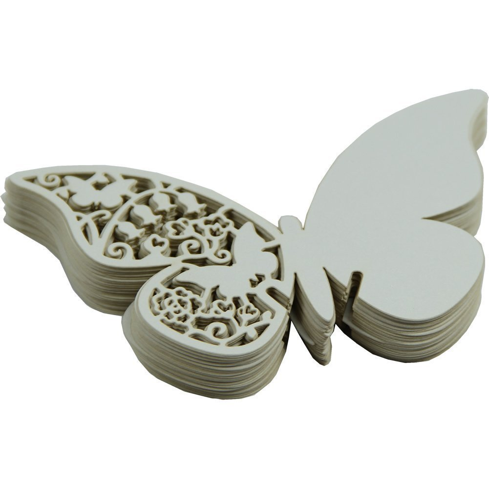 Amazon.com: Fonder Mols Pack Of 50 White Butterfly Wedding Table Paper  Place Card Escort Name Card Wine Glass Card For Wedding Party Decoration:  Kitchen U0026 ...