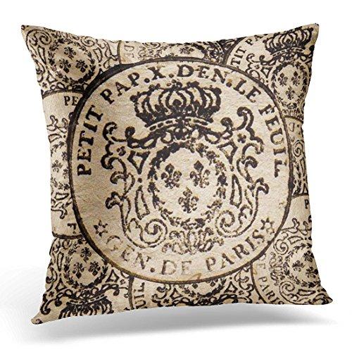 (TORASS Throw Pillow Cover Document Vintage French Stamp De Paris Writing Decorative Pillow Case Home Decor Square 18x18 Inches Pillowcase)