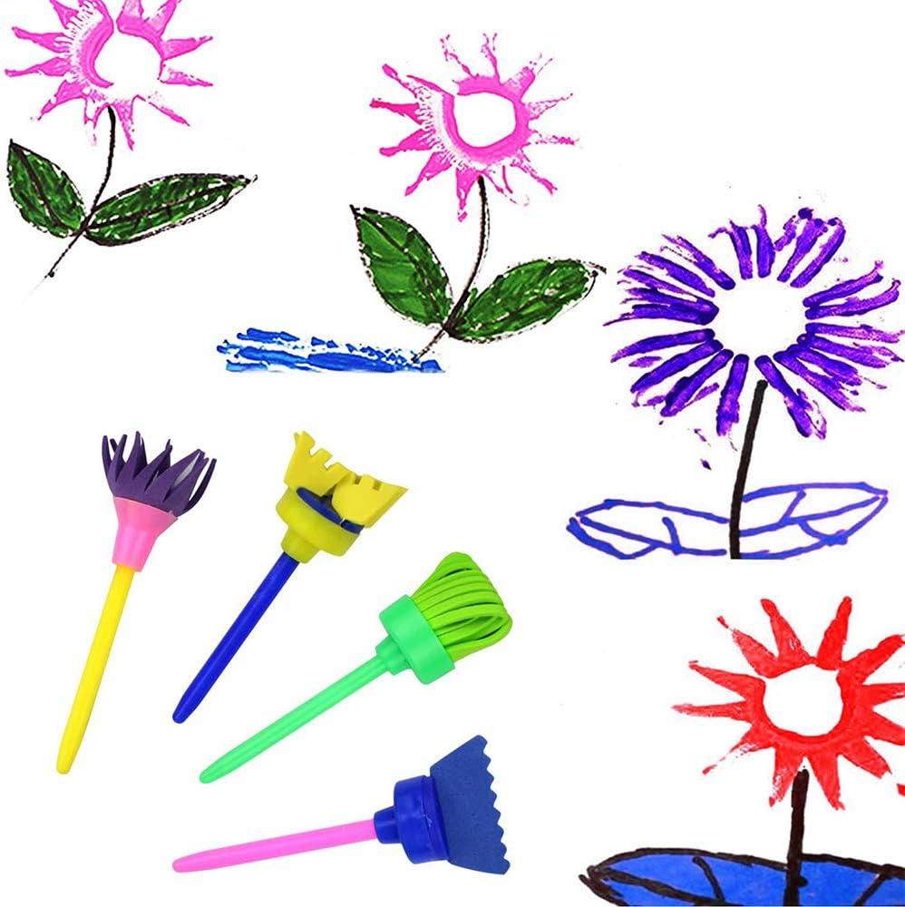 47Pcs Kids Sponge Paint Brushes Kits,Washable Foam Brushes Art Crafts Sponge Brush Flower Pattern Brush for Kids Toddlers Early Learning