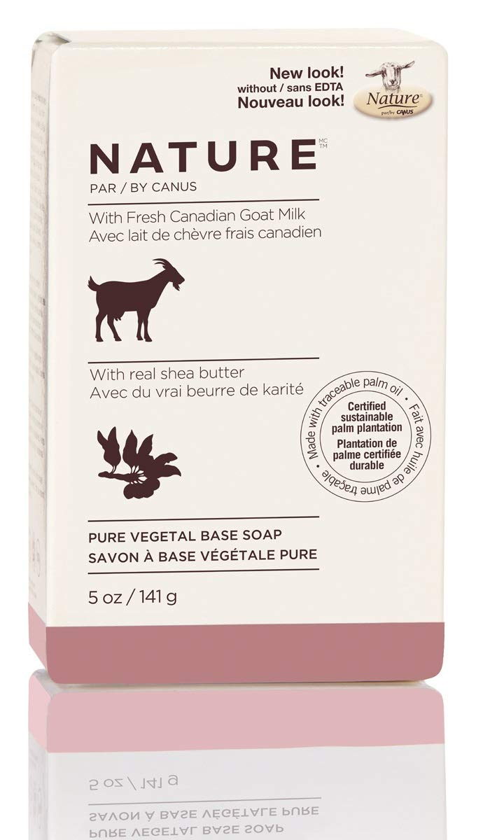 Nature by Canus Pure Vegetal Base Soap With Fresh Canadian Goat Milk, Real Shea Butter, 5 Ounce, 24 Count