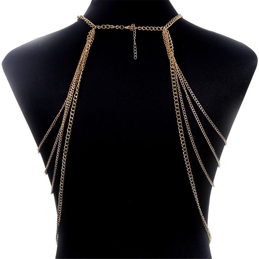 SIYWINA Multi-tassel Necklace Body Chain Gold Lace Chain Body Chain Bikini Summer by SIYWINA (Image #5)