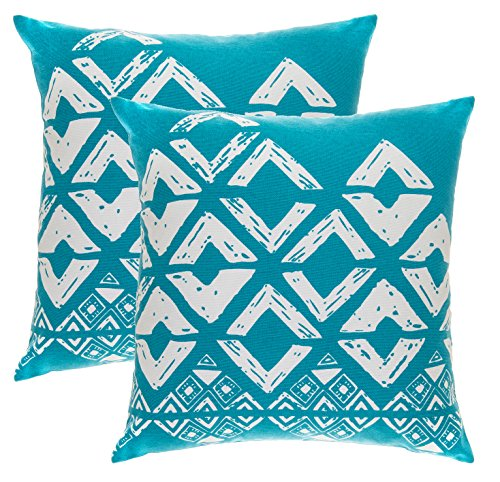 TreeWool 2 Pack Throw Pillow Covers Geometric Squares Accent Decorative Pillowcases Toss Pillow Cushion Shams Slips Covers for Sofa Couch (16 x 16 Inches/40 x 40 cm; Turquoise), White Background ()