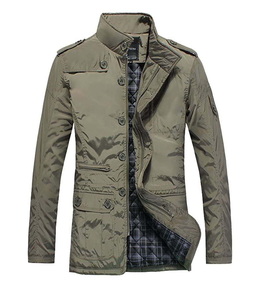 Men's Field Winter Casual Outerwear Stand Collar Waterproof Jacket 1046