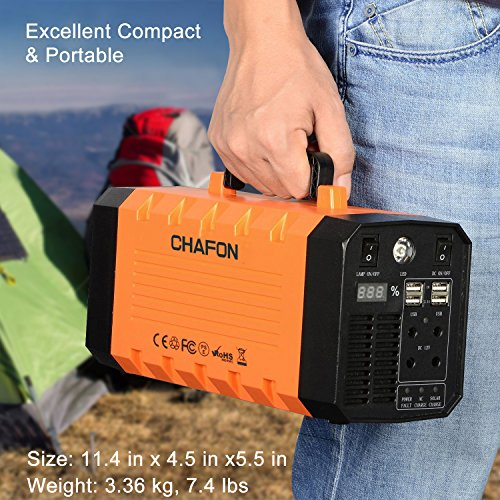 346WH Portable UPS Battery Backup Generator,Rechargeable Power Source Inverter with 110V/500W AC Outlet,12V Car,USB Output,Car Jump Starter for Camping -Orange by CHAFON (Image #2)