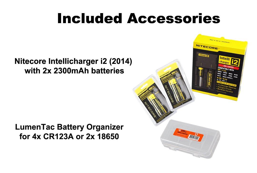 Bundle - 5 Items: NiteCore EC4S 2150 Lumens CREE XHP50 LED Flashlight with 2x Nitecore 18650 Rechargeable Batteries, Nitecore i2 Smart Charger and LumenTac Battery Organizer by Nitecore (Image #2)