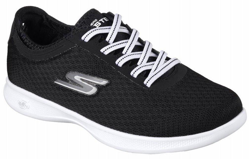 Skechers Womens GO STEP Lite - Dashing, Walking, Black/White, 8.5 W US