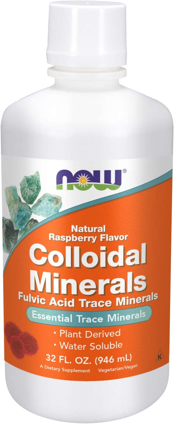 NOW Supplements, Colloidal Minerals Liquid, Plant Derived, Rasberry, 32-Ounce: Health & Personal Care